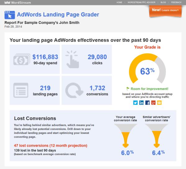 Online marketing tools WordStream Landing Page Grader