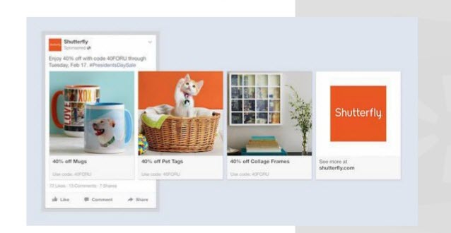 Paid social media Facebook product ads