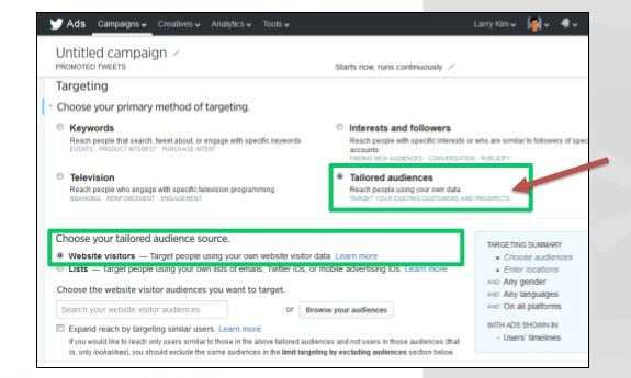 Paid social media Twitter Tailored Website Audience