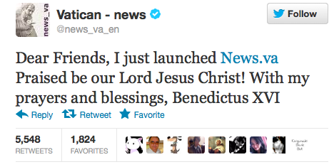 Pope's First Tweet