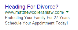 PPC ad headlines divorce ad