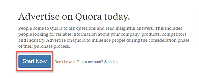 quora ads start now button