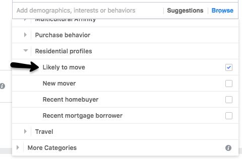 Real estate Facebook ads targeting audiences by likelihood of moving