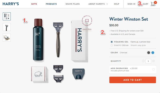 Slick, glossy online product page for razors