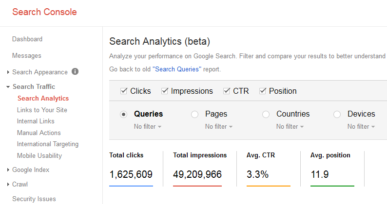 search console keyword traffic