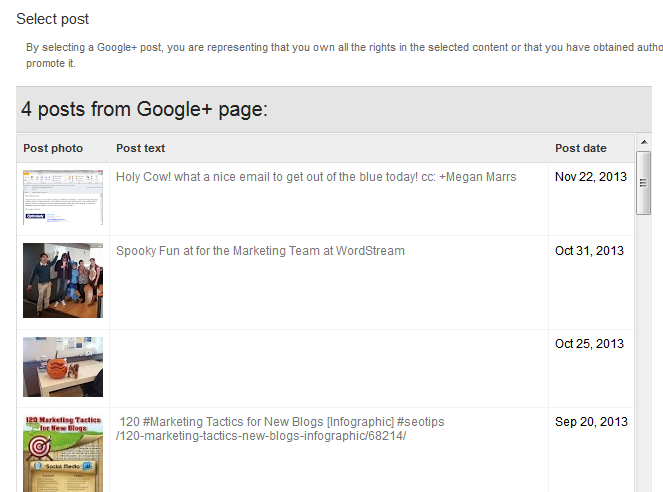 Select a Post to Promote on Google+