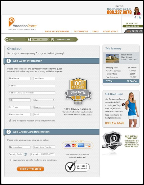 simplify checkout process on landing page