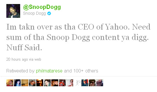 Snoop as Yahoo's Future CEO?