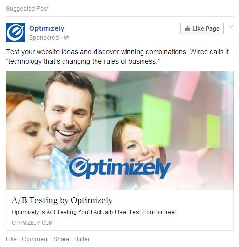 Social media advertising Facebook Optimizely ad