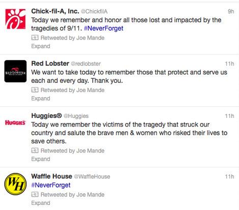 Social media crisis management branded 9/11 tweets