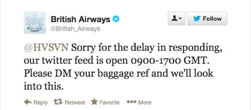 Social media crisis management sponsored tweet don't fly British Airways tweet response