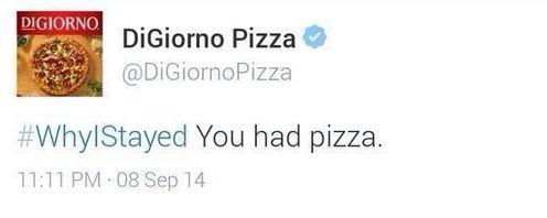 Social media crisis management branded tweets DiGiorno WhyIStayed hashtag tweet
