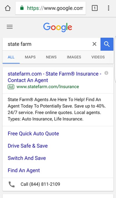state farm mobile brand searches