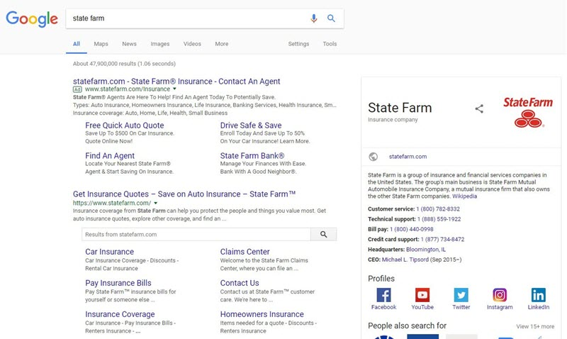 state farm brand search on desktop
