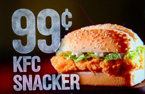 Subliminal advertising KFC Snacker sandwich dollar hidden in lettuce