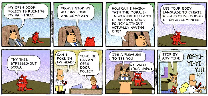 Time management tips Dilbert open office door policy