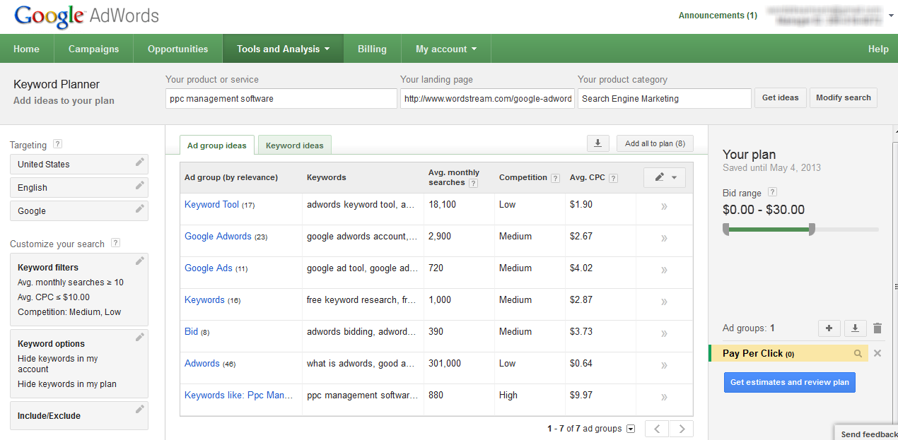 Using the AdWords Keyword Planner to Research Keywords