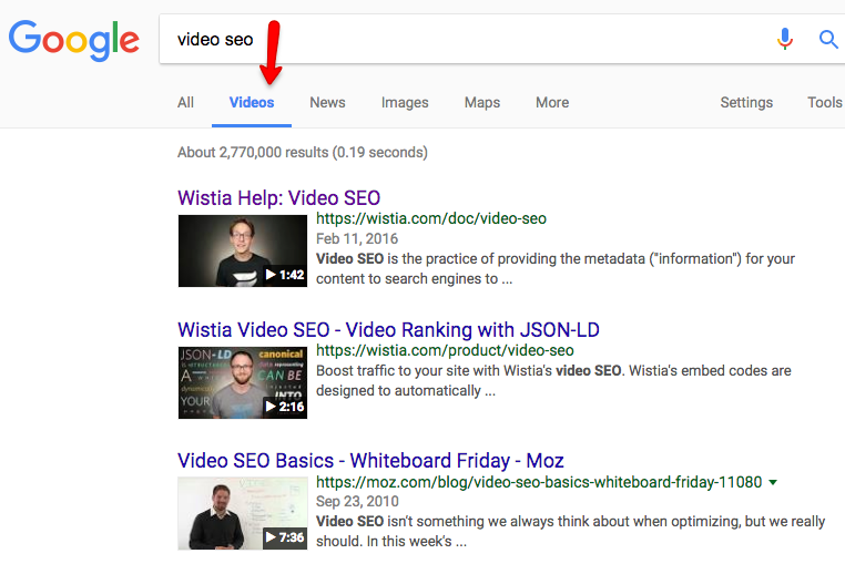 Video SEO search engine results page SERP example
