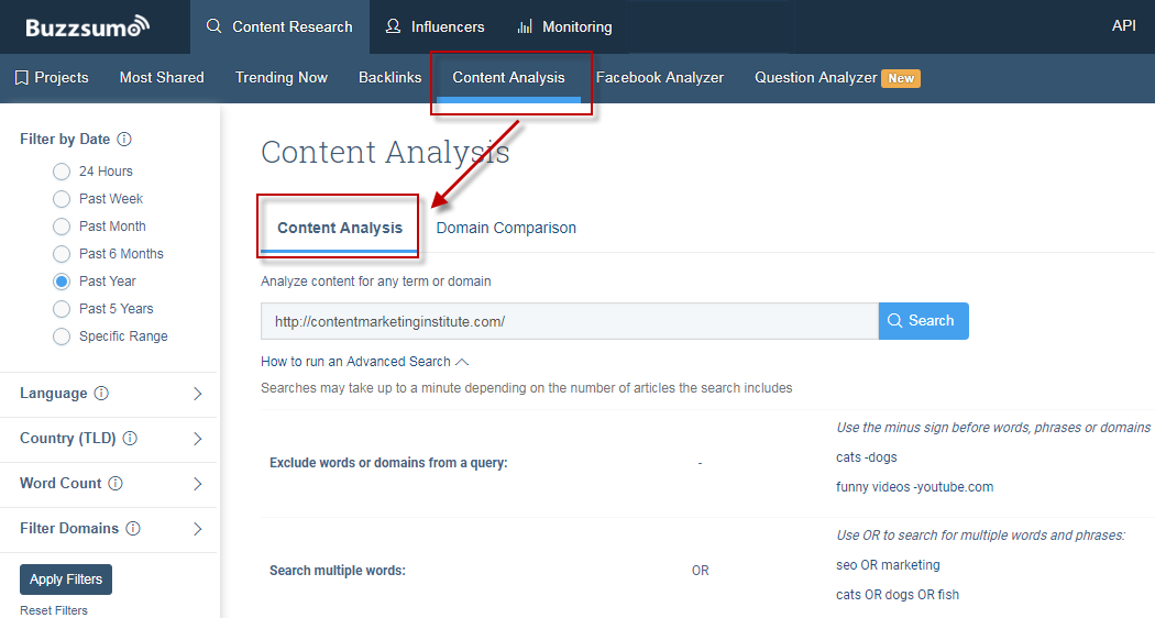 Ways to find competitor keywords BuzzSumo Content Analysis tool