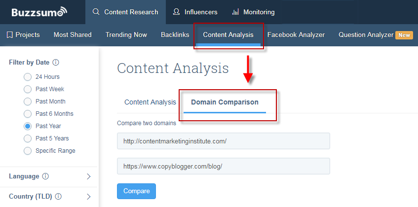 Ways to find competitor keywords BuzzSumo domain comparison tool