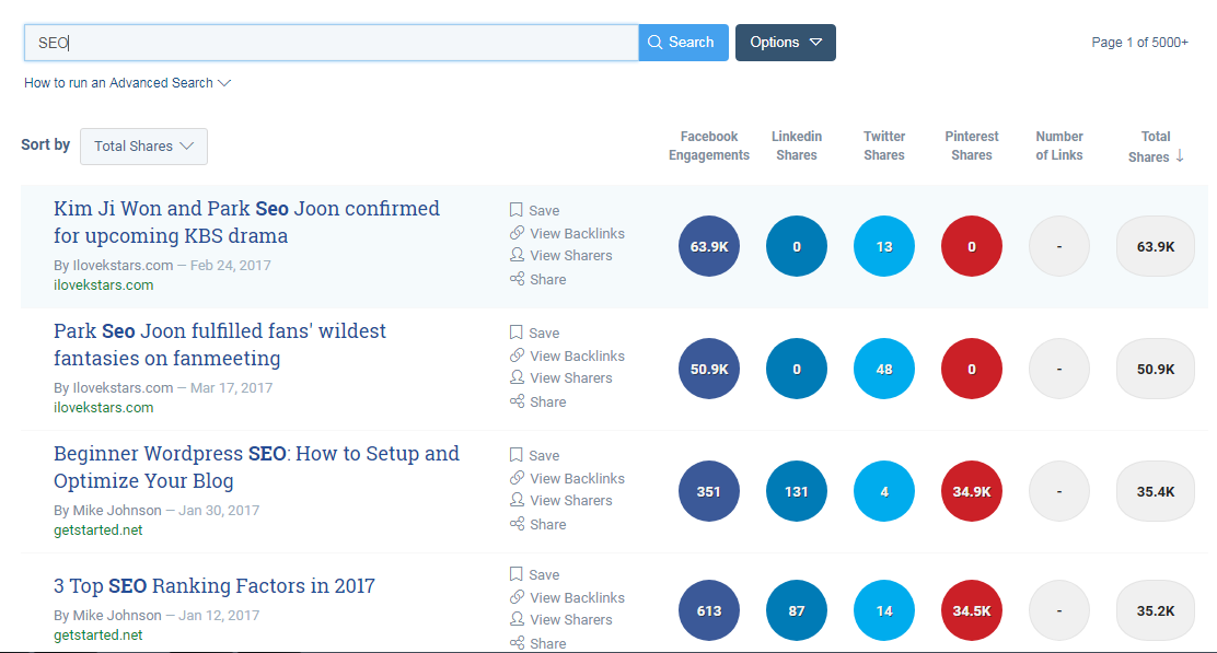 Ways to find competitor keywords BuzzSumo content search query example