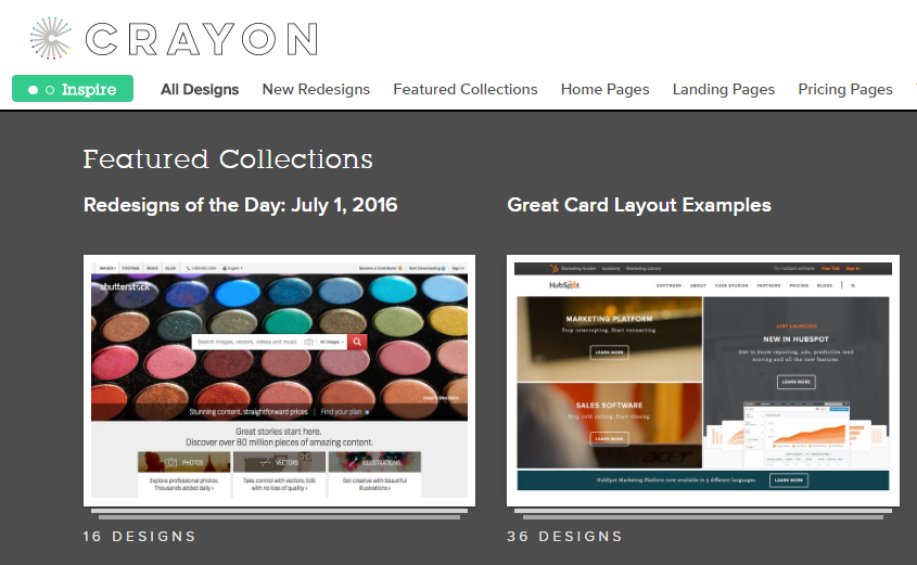 Web design inspiration Crayon.co