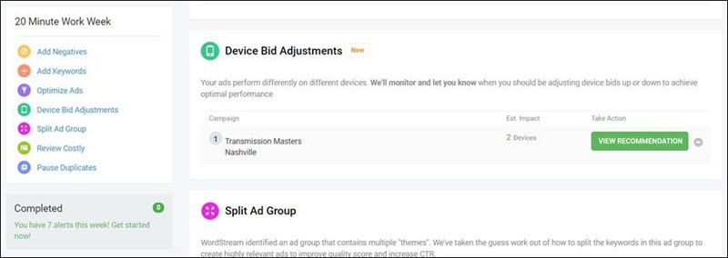 device bid adjustment alerts