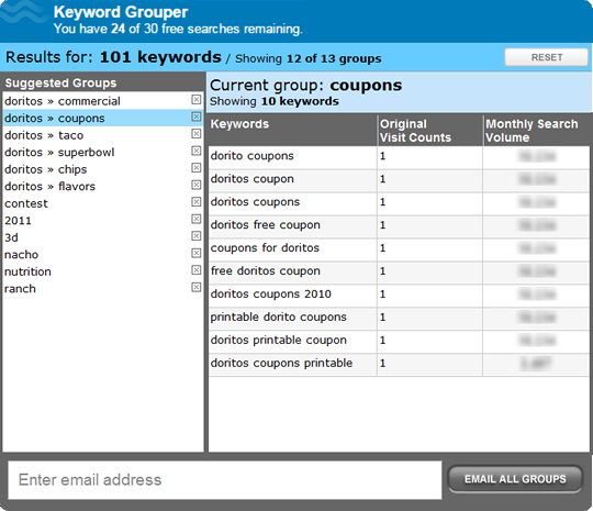WordStream Keyword Grouper tool screenshot