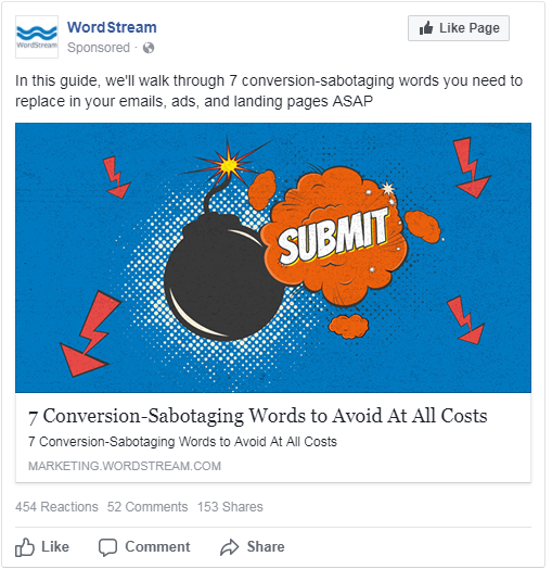 wordstream's top performing facebook ad based on relevance score uses bold image creative