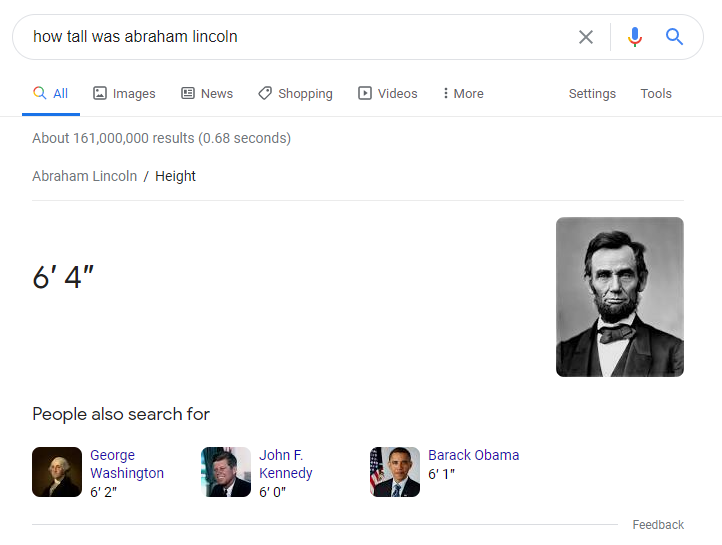 how tall was abe lincoln