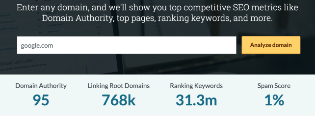link building strategies moz domain authority score