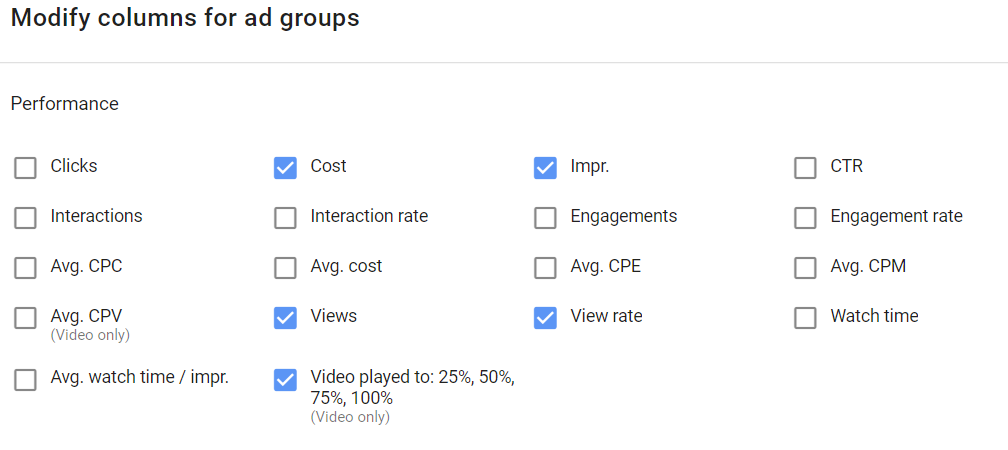 youtube reporting metrics video played to