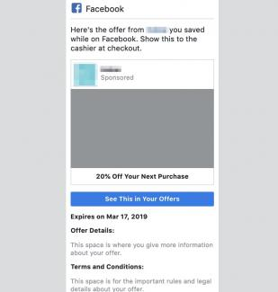 Notification example for Facebook Offer Ads