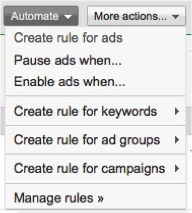 automated rules menu