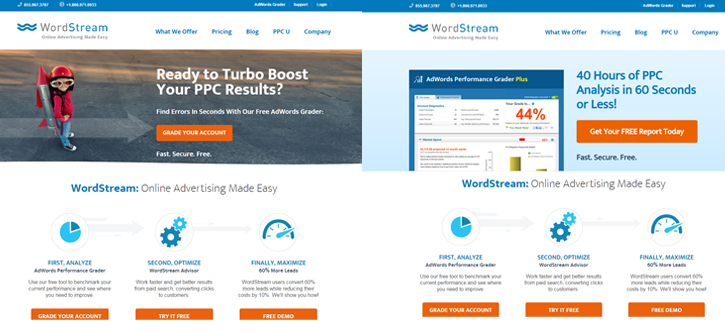 AB testing tips WordStream homepage AB test