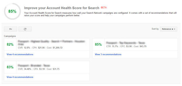 account health score for search dashboard