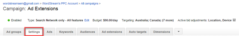ad extensions in adwords ui