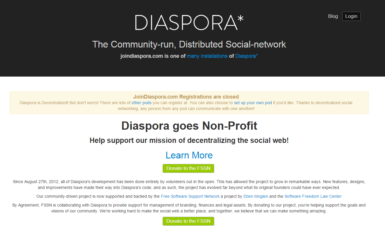 Ad free social networks Diaspora