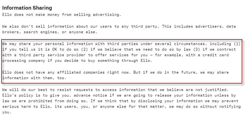 Ad free social networks Ello privacy policy