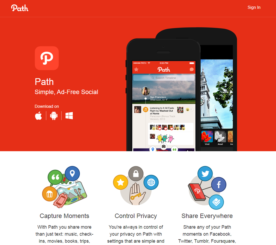 Ad free social networks Path