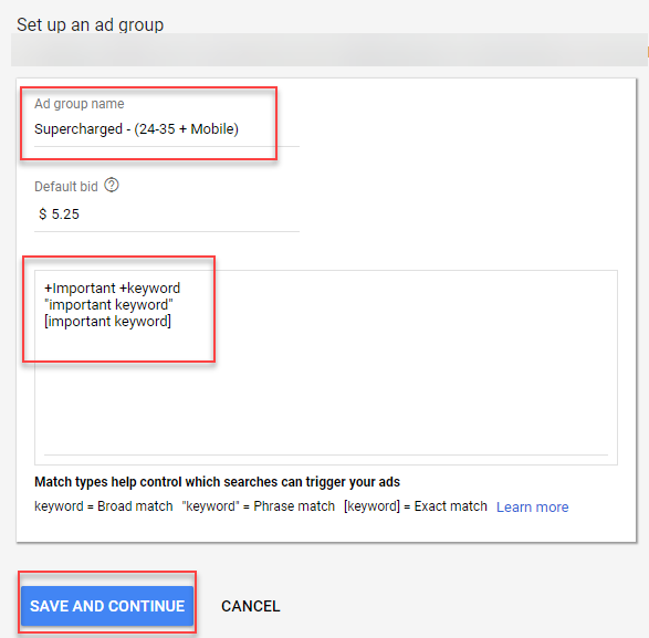defining supercharged ad groups in adwords