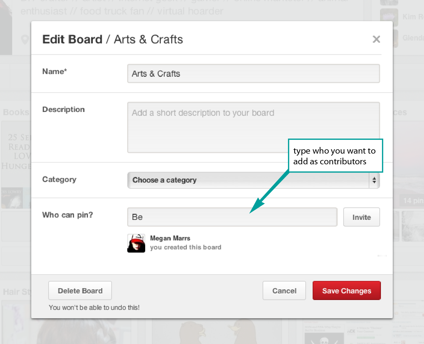 Adding Contributors to Pinterest
