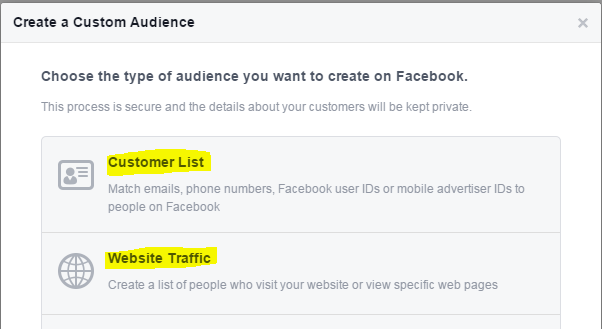 Ads on Facebook screenshot of creating a customer audience