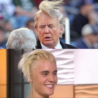 Ads on Facebook funny image of Justin Beiver trying to look like Donald Trump