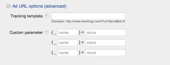 google adwords advanced url options