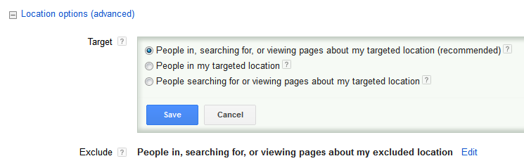 AdWords Location Options