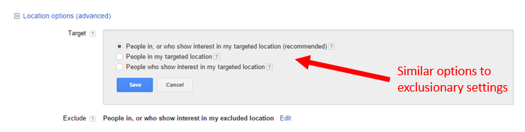 advanced location targeting settings