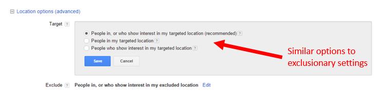 advanced location targeting settings