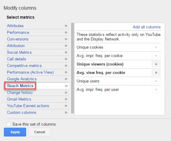 nurture adwords reach metrics freq cap