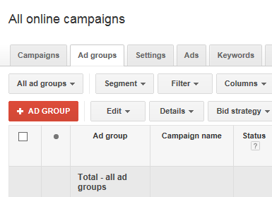 adwords account structure screenshot showing where to create a new ad group in adwords
